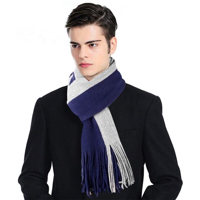 スカーフメンズスカーフステッチ - 秋冬スウィートニットフリンジロングスカーフ男性のためのカラーソフトスカーフ