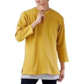 (モノマート) MONO-MART ロング丈 ワッフル カットソー ヘムライン Tシャツ 7分袖 ゆるシルエット MODE メンズ キャメル Lサイズ