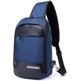 斜めがけ ボディバッグ ワンショルダー メンズ ショルダーバッグ 斜め掛け バッグ 肩掛けバッグ ワンショルダーバッグ 防水 USBポート 軽量 メッセンジャーバッグ iPad収納可能 (混合素材, 青)