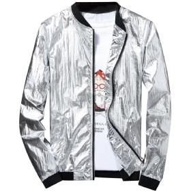 Tootess メンズフィット薄い金属のナイトクラブのスタイルのジッパーのオーバーコートのファッション Silver L