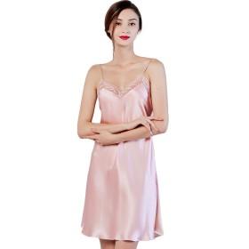 シルク スリップ 絹100% 胸元チュールレース インナー ドレス M ピンク