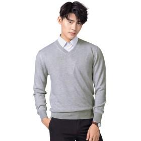 Ra&Do ニット セーター メンズ 綿 無地 暖かい カジュアル ニットセーター 春秋冬 R020 (M, グレー)