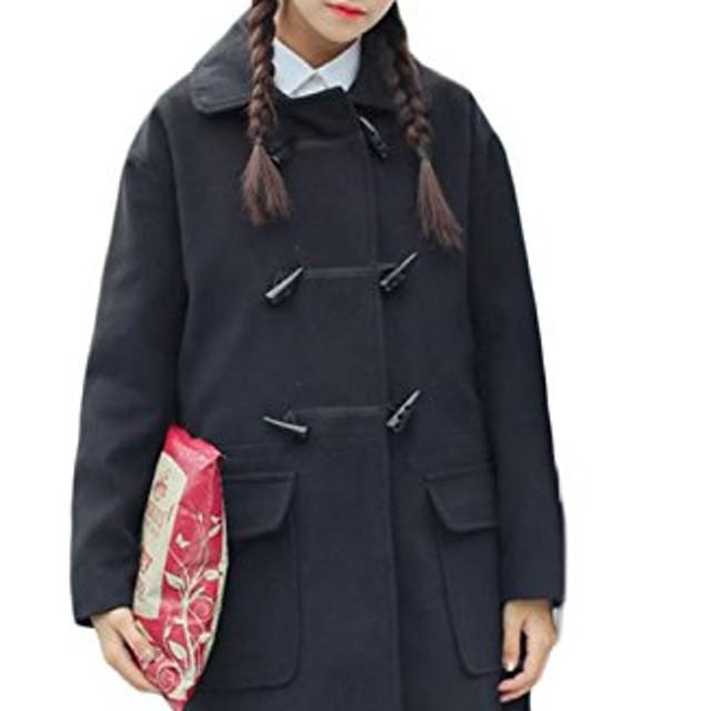 PIITE レディース ラシャコート 秋 冬 ホーンボタン かわいい フード付き ロングコート 韓国風 ゆったり ダッフル コート ロングアウター(8黒)