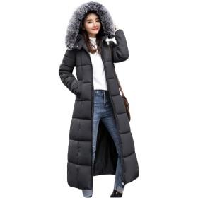 [ユリカー] コート ロング レディース ダウンコート ダウンジャケット 中綿 厚手 防寒 通勤 通学 ゆったり 着痩せ おしゃれ あったか ファスナー 大きいサイズ ブラックM