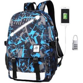 SBOYS(エスボーイズ) リュック バックパック USBポート付き 充電 夜光効果 自然発光 蛍光 大容量 多機能 ラップトップ収納可 女の子 男の子 ユニセックス 男女兼用 中学生 高校生 レジャー カジュアル 可愛い ファッション メンズ レディース (デザイン6)