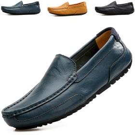 [メイオウ] レザー ドライビングシューズ ローファー メンズ 本 革 カジュアルシューズ スリッポン デッキ シューズ 革靴 四季の靴 快適 履きやすい ブルー 26.5cm