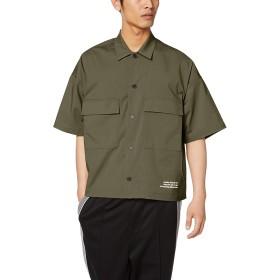 [ウィゴー] WEGO クロップド ワーク シャツ ミリタリー 5分袖 L カーキ メンズ