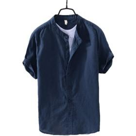 [HAPLUE]メンズ シャツ 無地 スリムフィット 柔らかい 綿とリネン ハイエンド シャツ 半袖 春 夏 秋 トップス