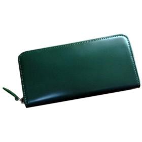 コードバン(馬尻革)×本ヌメ革 ラウンドファスナー長財布 (グリーン)