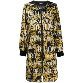 Versace Jeans Couture プリント フーデッドコート - ブラック