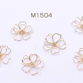 M1504 30個 チャームパーツ ワイヤーフラワー 桜 25×26mm ゴールド 3x【10ヶ】