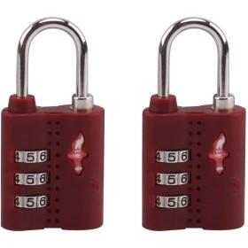 Totell TSAロック 南京錠 鍵 旅行用 3桁 トラベルロック安心 防犯グッズ 荷物スーツケース用 2個セット (褐色)