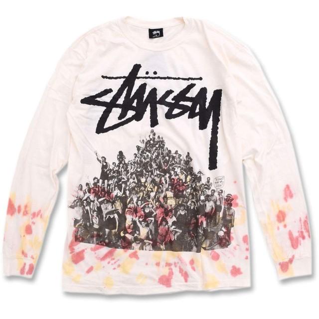 [ステューシー] STUSSY Tシャツ 長袖 メンズ Beach Mob Tie Dye サイズS オフホワイト/オレンジ [並行輸入品]