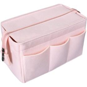 HyFanStr Bag in Bag フェルト バッグインバッグ たて型 インナ バッグ レディース バックインバック オーガナイザー 12ポケット 軽量 ベビーピンク M
