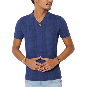 BITTER Tシャツ テレコ Vネック【ランダムテレコリブサイド切り替えVネック半袖Tシャツ】 杢ブルーS