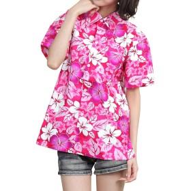 [OKI(オキ)] アロハシャツ フリーサイズ ユニセックス カラフル ダンス 衣装 イベント メンズ レディース (XL, アロハピンク)