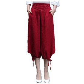 (上海物語)Shanghai Story チャイナ服 レディース ゆったり ガウチョ ワイド パンツ ウエストゴム 無地 クロップドパンツ 女性用 M Red