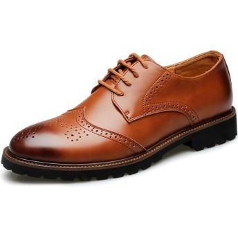 [goomix] ウィングチップシューズ メンズ ビジネスシューズ 革靴 カジュアル ウォーキング レースアップ 通学 通勤 黒 ブラウン/25.5