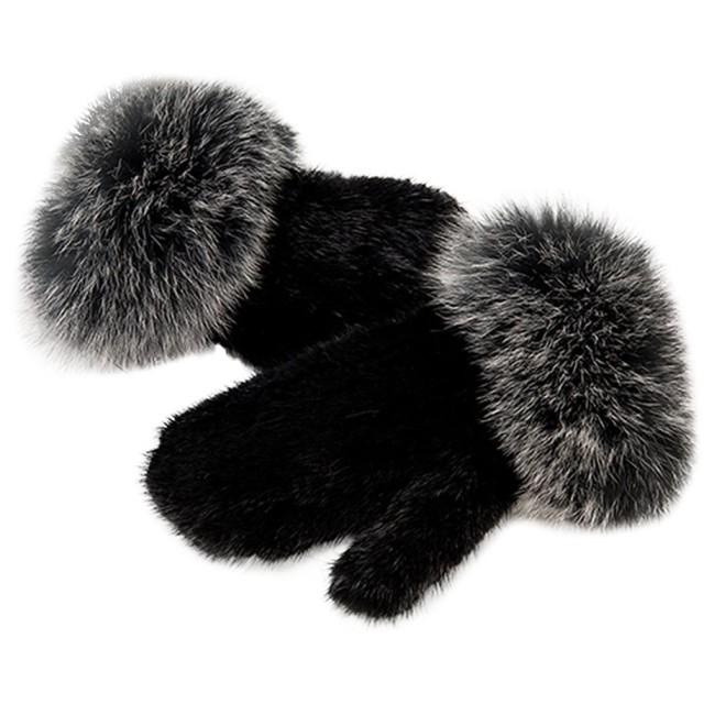 レディースファー手袋 ハンドウォーマー 厚手アウトドアー 防寒手袋 フォックスファーと編み込みミンクファー Fur Story(ファー ストーリー) 17820 ブラックシルバー