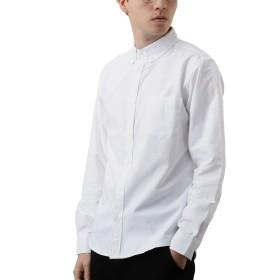 [REPIDO (リピード)] 長袖シャツ シャツ メンズ オックスフォード ワイシャツ メンズシャツ ボタンダウン 無地 ホワイト Lサイズ