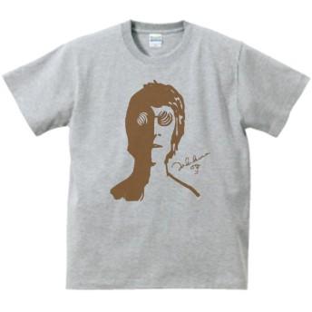 ジョン レノン 音楽 バンド ロック Tシャツ グレー (M)