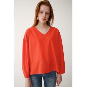 (マウジー) moussy Tシャツ 長袖 タックスリーブ Vネックトップス レディース オレンジ Free