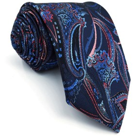 SHLAX&WING ブルー 青い 赤 ネクタイ メンズ ペイズリー模様 スーツ用 シルク 一般寸法の