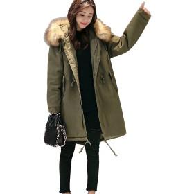 Lisa Pulster Lisa Pulster モッズコート ロングコート レディース ミリタリージャケット カーキ 裏ボア 防寒アウター フード付き 大きいサイズ (グリーン, L)