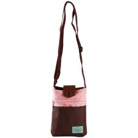 VWH 女性のための縦型女性バッグパスポートパッケージ小銭入れ電話バッグクロスボディバッグ(ピンク+コーヒー)