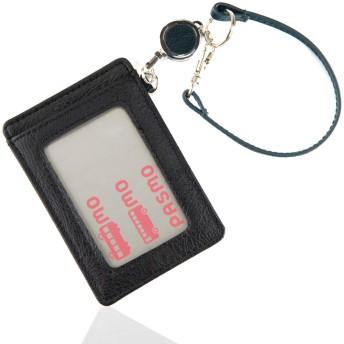 [Trelia] リール付き 定期入れ パスケース 本革 PU レザー 薄型 スリム 両面 カードケース メンズ レディース ta216 (ネイビー)