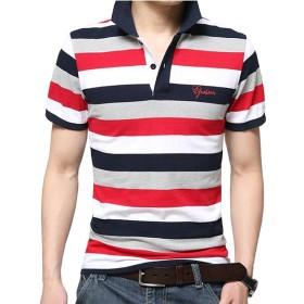 Veravant(ベラバント) ポロシャツ 半袖or長袖 メンズ ボーダー カジュアル スポーツウェア ゴルフウェア シンプル 通気性 薄手 吸汗 夏 polo ファッション カッコイイ Tシャツ 全3色 (XL, レッド)