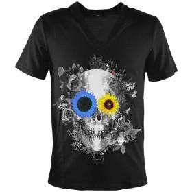 Tシャツ Vネック ドクロ 髑髏 ひまわり ヒマワリ 向日葵 バラ 薔薇 プリント 半袖Tシャツ メンズ ブラック黒 zkk042 LL