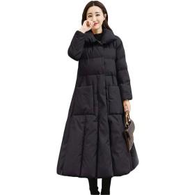 [ディーハウ]レディース 冬服 防寒ジャケット 中綿コート ロングコート ダウンコート ダウンジャケット 大きいサイズ アウター ビジネス ゆったり シンプル ファッション 着痩せ 軽量 スリム きれいめ 修身 ブラックL