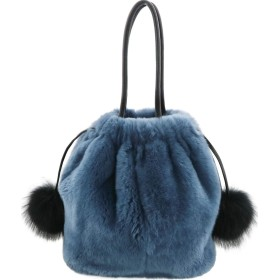 レッキス ファー 巾着 バッグ レディース フォックスファー ポンポン付き : レトロブルー