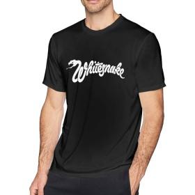 Whitesnake ホワイトスネイク Tシャツ メンズ サマー丸首上着 ユニーク シャツ プリント ティーシ ャツ カジュアル ヴォーグ 半袖 通勤 通学 柔らかい 通気性 吸汗速乾 スリム