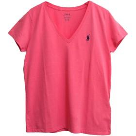 (ラルフローレン) POLO RALPH LAUREN コットン ソリッド Vネック Tシャツ (M, PINK/NAVY) [並行輸入品]