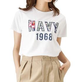Navy(ネイビー) NAVYロゴ花柄ワッペンTシャツ 半袖Tシャツ クルーネックTシャツ EJ193-WC157 レディース ホワイト:M