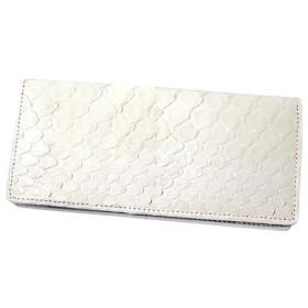 パイソン皮使用 二つ折り 長財布 ホワイト 白 ヘビ 蛇 ロングウォレット レザー