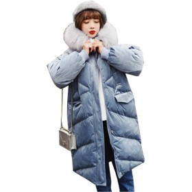 (グードコ) 冬服 ライトアウター レディース 中綿入れ ダウンコート ダウンジャケット 防寒 軽い カジュアル BF風 アウター ブルーL