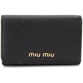 ミュウミュウ MIU MIU 名刺入れ 5MC011 2BJI F0UMV カードケース レザー ブラック×ピンク レディース [並行輸入品]