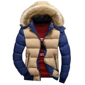 JinNiu メンズ ダウンコート フード付き 毛襟付き 中綿 コート 軽量 大きいサイズ アウトドア 防寒コート 軽量 ダウンジャケット 着やすい 柔らかい タートルネック ダウンジャケット 柔らかい 上品 高品質 防寒コート 冬の暖かいコート D 2XL
