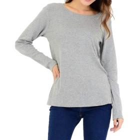 [スリーピングシープ] やわらか コットン 快適 長袖 Tシャツ 綿 フライス 丸首 クルーネック シンプル ストレッチ カットソー インナー M~4L レディース (b.グレー, LLサイズ)