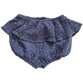 Plus Nao(プラスナオ) フリル付きブルマパンツ ブルマーパンツ かぼちゃパンツ ショートパンツ 子供用 ボトムス ショーパン 短パン 半パン ブルー 90cm