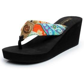 YUUWAレディースサンダル オシャレなサンダル ビーチサンダル ビーチサンダルリボン 美脚トングサンダル 歩きやすい 滑りにくい 花柄軽量 4色