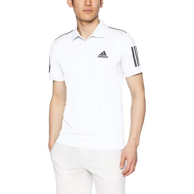 [アディダス] テニスウェア CLUB 3STR ポロシャツ [メンズ] FRW69 ホワイト/ブラック (DU0849) 日本 J/XO (日本サイズ3L相当)