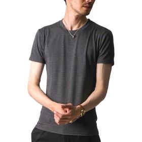 FTELA(フテラ) メンズ シャツ カットソー Tシャツ ロンTクルーネック 丸首 Vネック 長袖 7分袖 半袖 無地 シンプル スリム ブラック(半袖/丸首/霜降り) XL