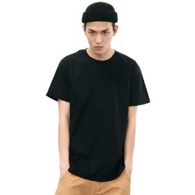 (フシモン)FUSHI&MON Tシャツ 半袖 メンズ 無地 カジュアル シャツ 綿100% 丸首 ファッション オシャレ シンプル インナー (S, ブラック)