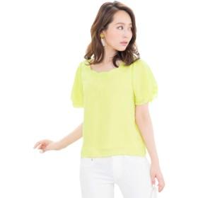 [神戸レタス] スカラップ シフォン ブラウス レディース フレア袖 半袖 [C2668] ワンサイズ(M) レモン