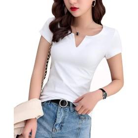 LINGEW レディース Vネック 半袖 トップス カジュアル シンプル Tシャツ カットソー ホワイト XL