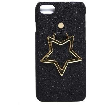 [Hashibami(ハシバミ)]Hashibami Big Star Glitter iPhonecase ビッグスターグリッターアイフォンケース iPhone 8 7 6s 6対応 本革 レザー ha-1802-494 ブラック